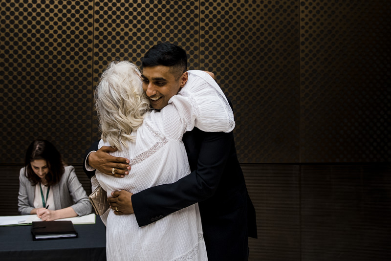 Groom hugs Mum after getting married at The Atria