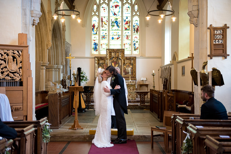 Wedding ceremony at St Peters church Benington