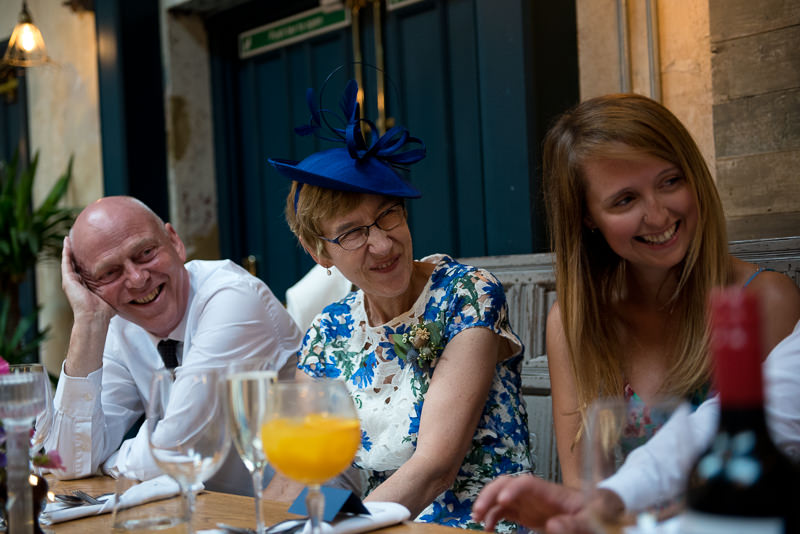 Guests listen to speeches at Bull and Gate Wedding