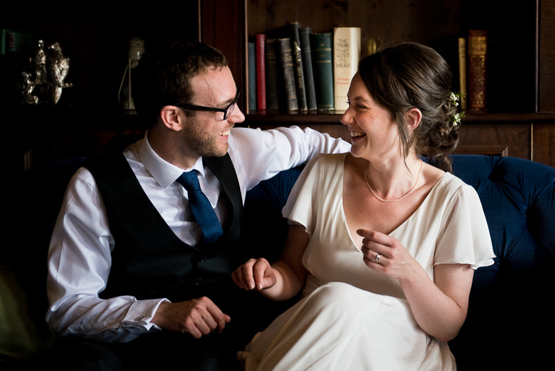 Bride and groom portrait in the Boulogne room at Bull and Gate in Kentish town