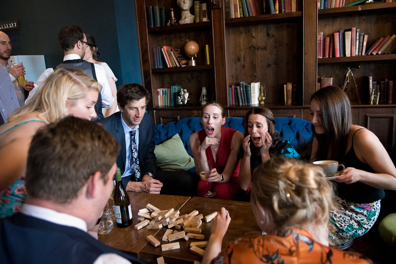 Wedding guests playing Jenga at The Bull and Gate Kentish Town