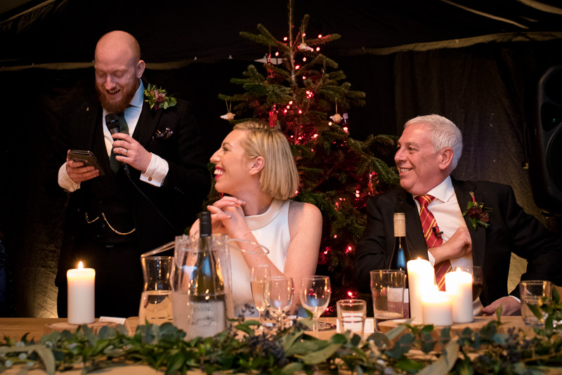 Speeches at Christmas wedding