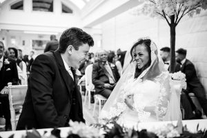 Bride and groom during wedding ceremony at Pembroke Lodge