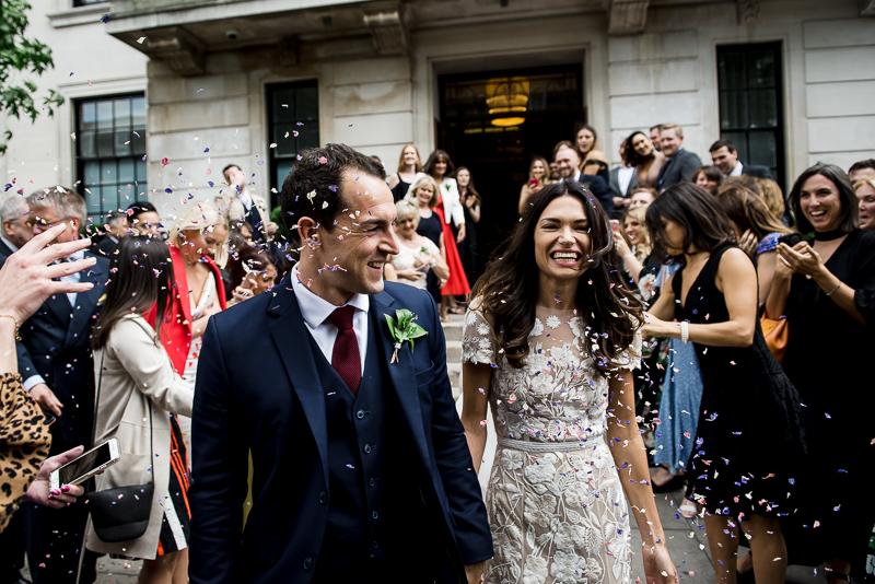 Confetti at Town Hall Hotel wedding