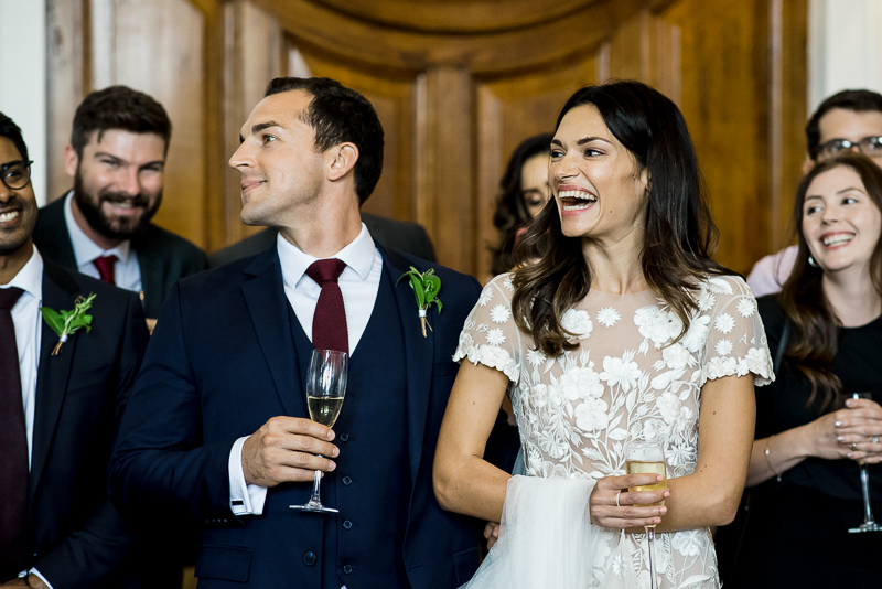Bride and groom enjoy drinks reception at Town Hall Hotel