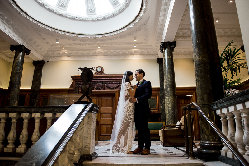 Bride and groom portrait at Town Hall Hotel in Bethnal Green