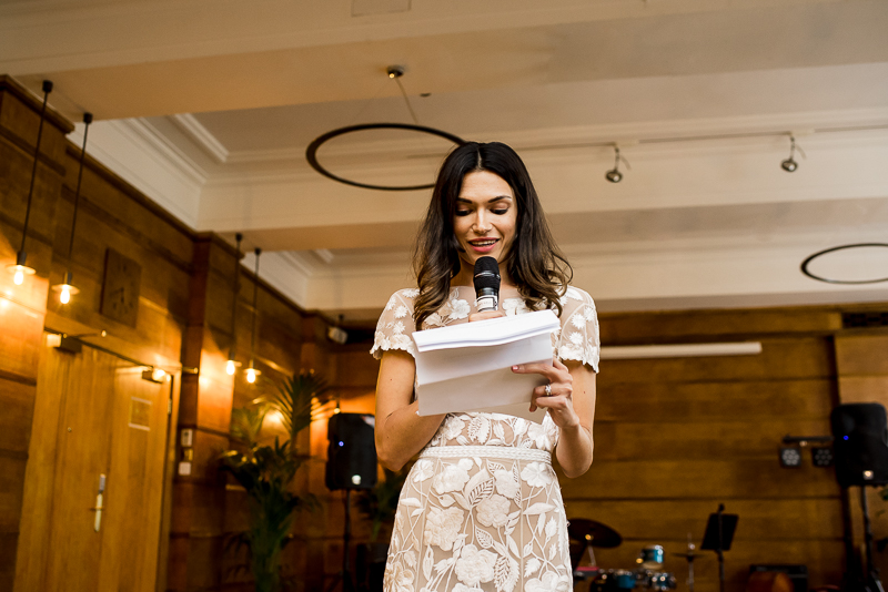 Bride makes speech at Town Hall wedding