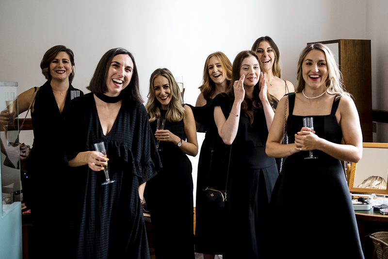 Bridesmaids react to seeing bride in dress at Town Hall Hotel wedding in East London