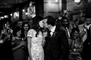 Bride and groom kiss at Town Hall Hotel wedding in Bethnal Green