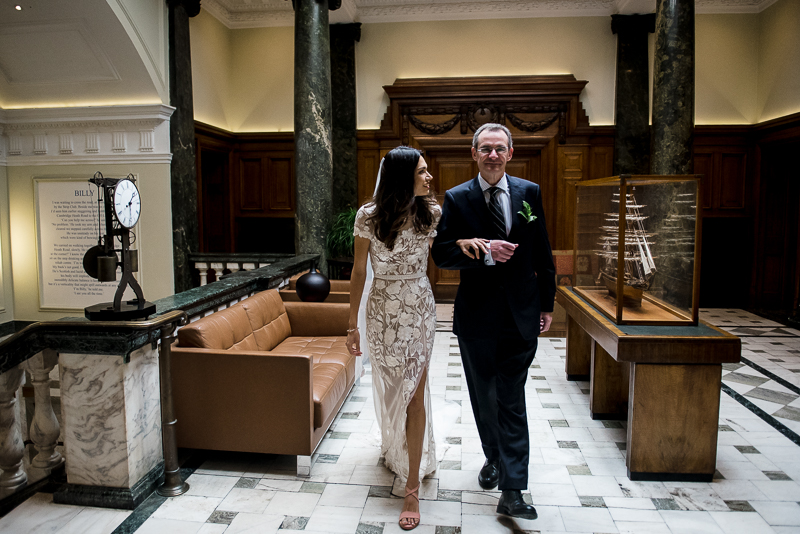 Bride with Dad at Town Hall Hotel
