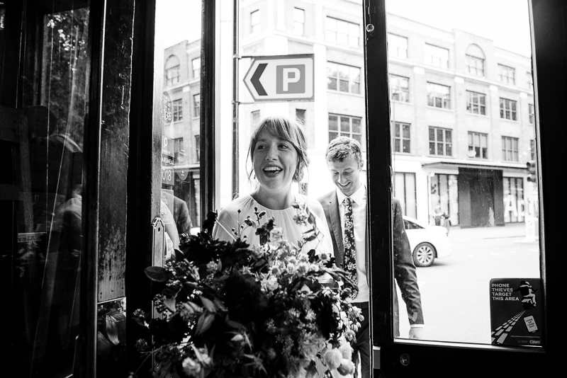 Bride and groom arrive at The Peasant Clerkenwell