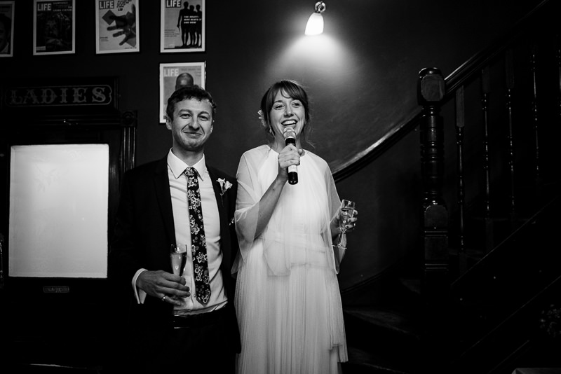 Bride and groom make speech at The Peasant Clerkenwell