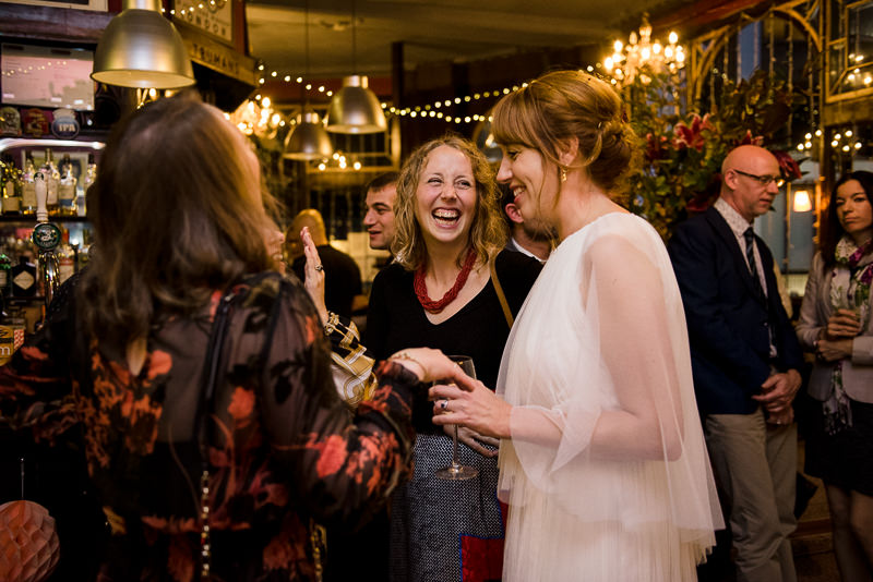 Bride mingles with guests at The Peasant Clerkenwell