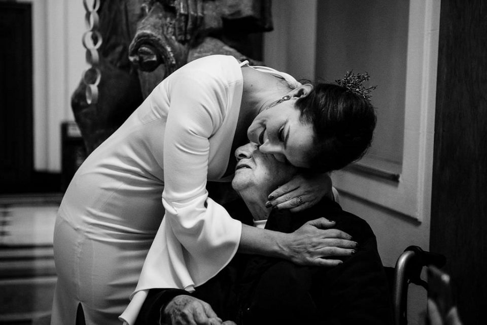 Bride hugging Grandma at Islington Town Hall Wedding